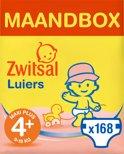Zwitsal Luiers - Maat 4+ (Maxi Plus) 9-18 kg - 168 stuks - Maandbox