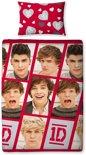 One Direction dekbedovertrek - Rood - 1-persoons (140x200 cm + 1 sloop)