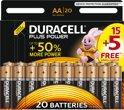 Duracell Plus Power alkaline AA-batterijen, verpakking van 20