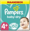 Pampers Baby-Dry - Maat 4+ (Maxi+) 9-18 kg - Maandbox 152 stuks - Luiers