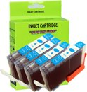 4 Pack Compatible Canon CLI-521 C*4 inktcartridges, 4 pak. 4 cyaan,