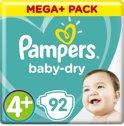Pampers Baby-Dry - Maat 4+ (Maxi+) 9-18 kg - 92 Stuks - Luiers