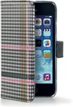 Celly - Pied de Poule wallet case - iPhone 5 / 5s - roze