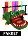 Afbeelding van het spelletje Krokodil drankspel met 6 reageerbuis shotglaasjes