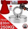 Vismagneet set - 250KG - 30m touw - Prikstok adapter - Beschermkap - Magneetvissen starterspakket - Schroefborgmiddel (10 ml)