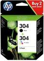 HP 304 - Inktcartridge / Zwart / Kleur / 2-Pack