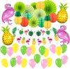 Fissaly® 56 Stuks Hawaii Flamingo & Ananas Feest Decoratie � Slingers �Helium - Ballonnen