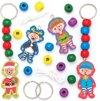 Houten sleutelhanger met feestelijke stokstaartjes (4 stuks per verpakking) Sleutelhangersets voor kinderen om kerstknutselwerkjes mee te maken