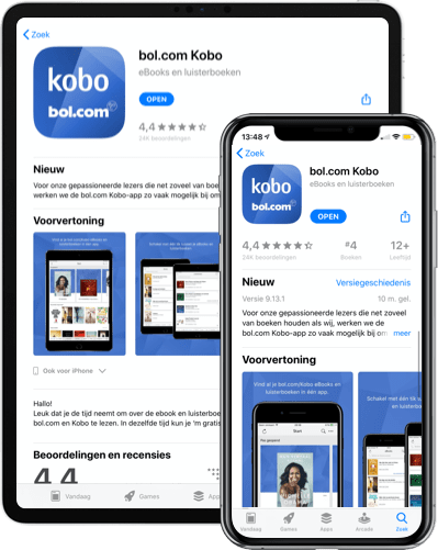 Download de bol.com Kobo app in de App Store of Google Play Store